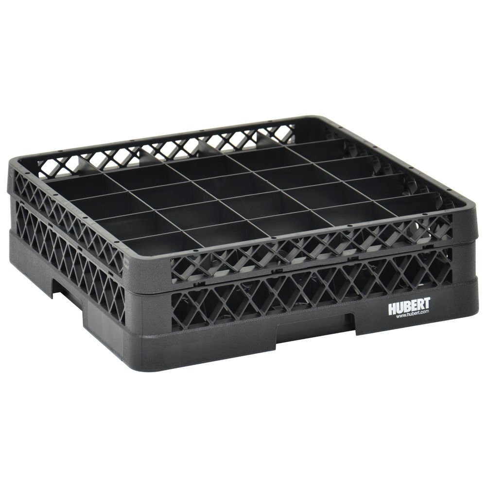 Vollrath Traex Black Plastic 25 Compartment Dishwashing Rack With One Open Extender - 19 3/4 L x 19 3/4 W x 5 9/16 H
