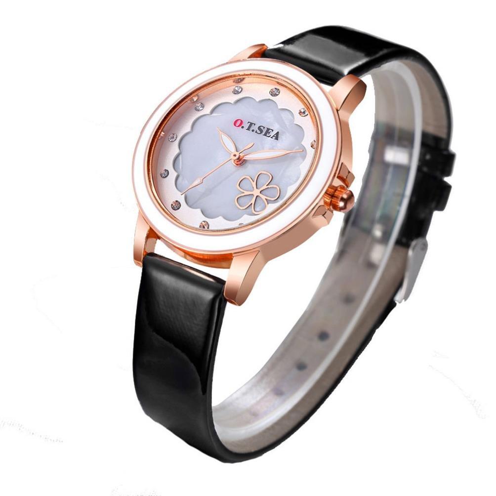 レディースレザー腕時計、Sinmaフラワーシェイプラインストーン腕時計アナログクオーツWrist Watches for o.t.海 B071VLW3RV