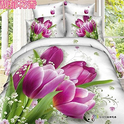 ZQ Contemporary fashion retro boutique printing 3D activity set of four cotton linen Tulip violet three color patterns , tulips , (Tulip Linen)