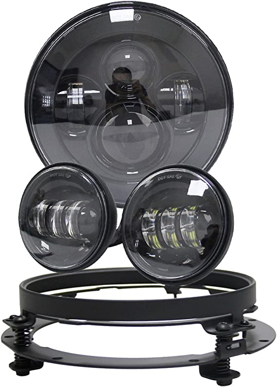 7 LED Headlight-Chrome w// 7 Adapter Bracket Ring for Road King Auxbeam 7 LED Headlight Motorcycle Projector for Harley Davidson with 4.5 Inch Passing Fog Light Lamps
