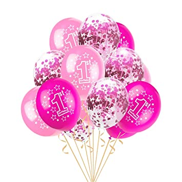 37c412412 15pcs 12 Inches Latex Balloons Cute Printed Inflatable Balloons Baby Shower  1 Year Old Birthday Party
