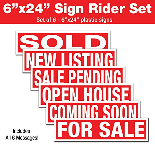 6 Pack Real Estate Plastic Sign Riders- Coming Soon, for Sale, Sale Pending, New Listing, Sold, Open House- Direct Printed 6x24