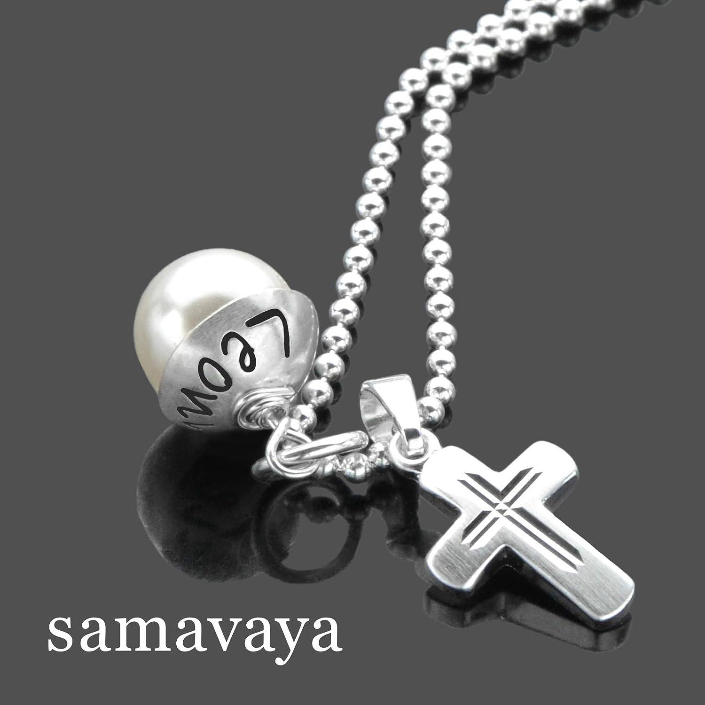 Namenskette mit Gravur Konfirmation//Kommunion LYHO SEGEN 925 Silberkette Namensgravur Silberkreuz