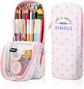 iSuperb Stand Up Pencil Case Canvas Pencil Holder Phone Holder Mobile Phone Bracket Function Desk Organizer Makeup Cosmetic Bag (Pink dots)