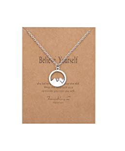 Wishoney Mountain Pendant Necklace Inspirational Necklaces for Women Necklace Wish Card Believe Yourself
