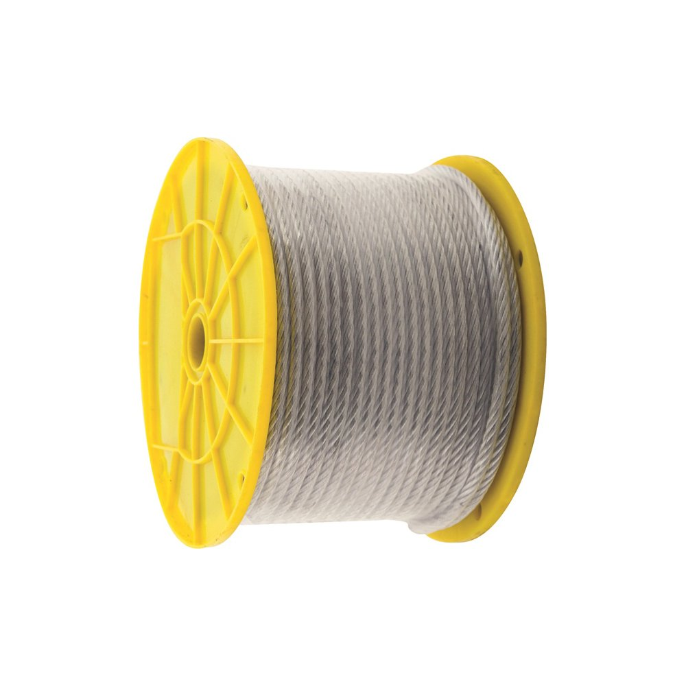 KingChain 505552 3/16'' x 1/4'' x 250' PVC-Coated Galvanized Aircraft Cable