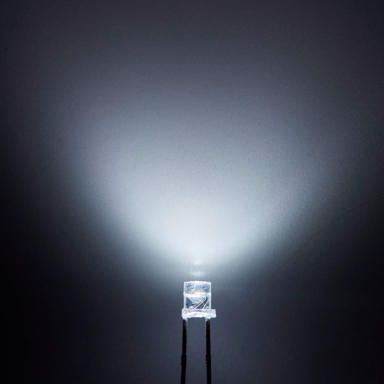 ACAMPTAR 100 Pcs 5Mm Blanc Led Diode Lights Dc 3V 20Ma Ampoule Lampes Composants /électroniques Diodes /électroluminescentes