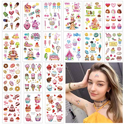 Kids Birthday Stickers Favor (CIEOVO Colorful Cool Ice Cream Temporary Tattoos for Kids 18 Sheets Fun Stickers - Waterproof Tattoo Stickers for Kids Birthday Summer Beach Party Favor Children's Day Gift Supplies)