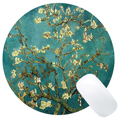 Wknoon Round Gaming Mouse Pad Custom Design, Abstract Blossoming Almond Tree Print Art Circular Mouse Pads