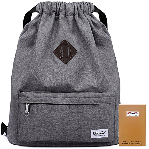 Drawstring Sports Backpack Lightweight Gym Yoga Sackpack Shoulder Rucksack for Men and Women-Dark Grey (Drawstring Bag)