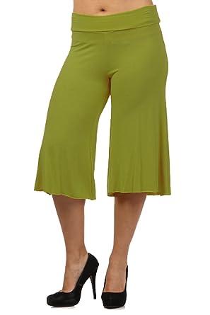 DBG Women's Women's Palazzo Wide Leg Rayon Gaucho Capri Pants at ...