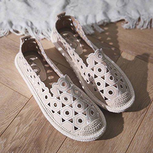 Zapatos Sueltos Piso Plano Salvaje de Las Mujeres Zapatos Perezosos Transpirables Poco Profundos Zapatos de Pescador de Paja de Bordado Hueco Hueco Cabeza Redonda Tacón Bajo (1-3Cm) Caucho Ayuda Baja