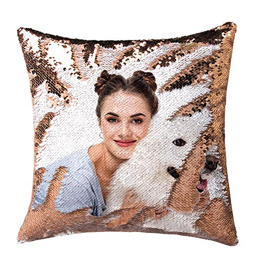 Personalized Sequin Pillow with Your Photos Customized Gifts Custom Love Photos,Wedding Keepsake Pillow Magic Reversible Mermaid Sequin Throw Pillow Gifts (Gold Sequin)