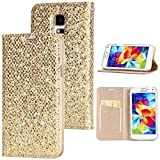Stysen Galaxy S5 Flip Case,Galaxy S5 Glitter Wallet Case,Elegant Noble Stylish Gold Ultrathin Secure Magnetic Closure Shiny Glitter Sparkle Bling PU Leather Bookstyle Soft Silicone Inner Tpu Case with Card Slots Pouch and Stand Function Folio Buckle Wallet Protective Case Cover for Samsung Galaxy S5-Gold