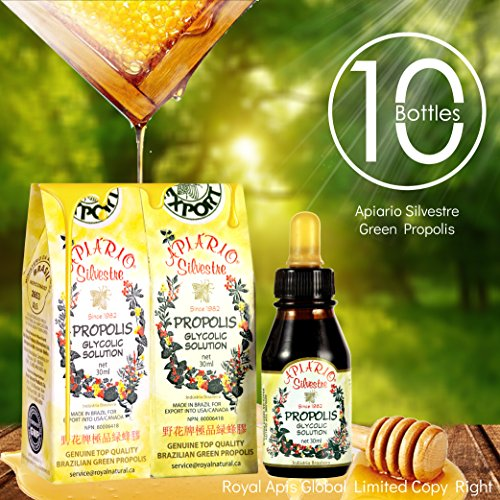 Cardiovascular health,lipids, sugar level control 10 Bottles Value Pack - Official Distributor - Apiario Silvestre Brazilian Green Bee Propolis Liquid Glycolic Extra - Alcohol Free, Wax Free, No Sugar