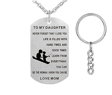 Amazon.com: comfybuy CF a mi hija collar llavero – acero ...