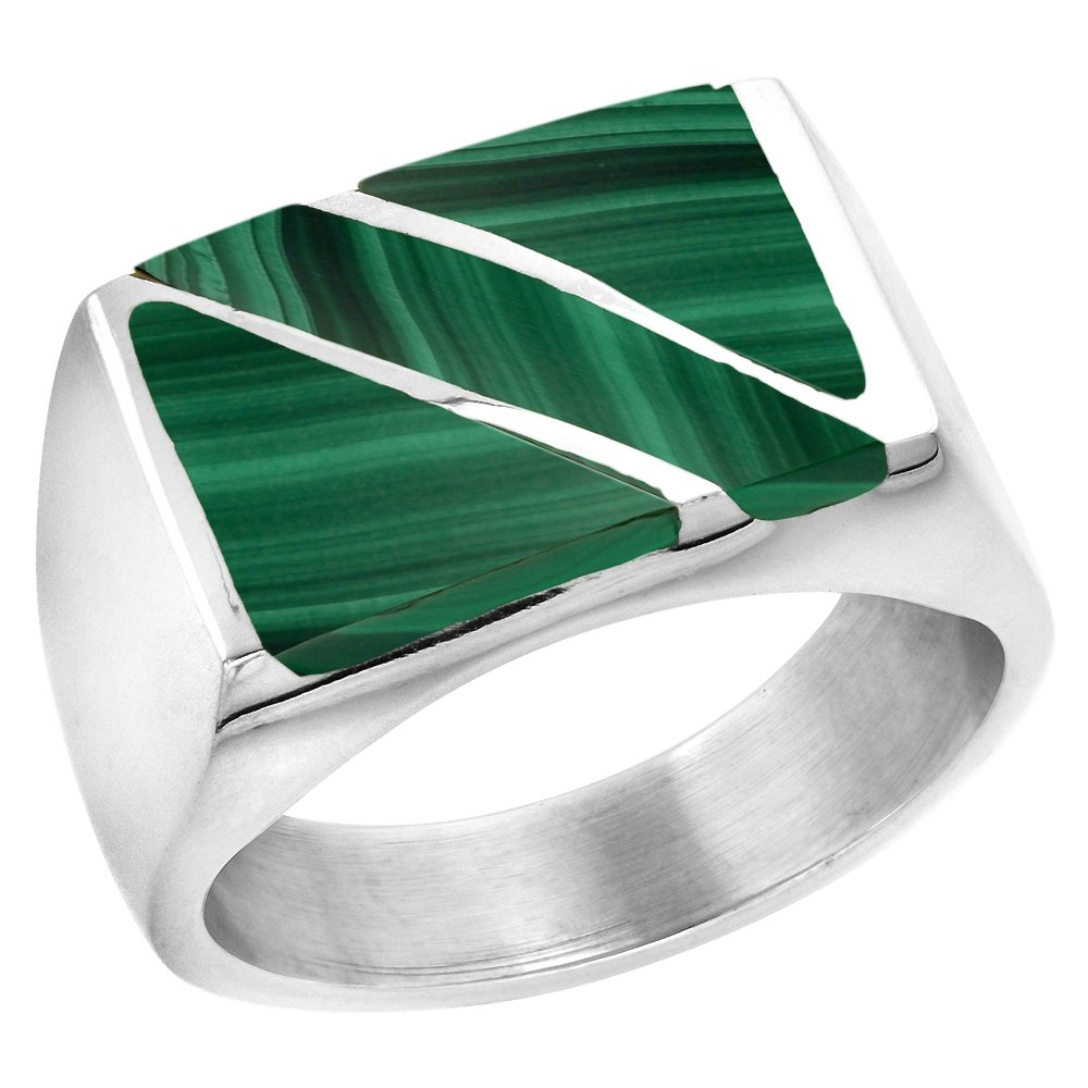 Sterling Silver Malachite Ring for Men Rectangular Diagonal Stripe Solid Back Handmade, size 12