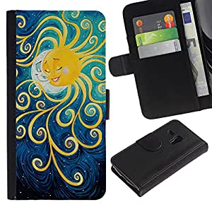For Samsung Galaxy S3 MINI NOT REGULAR! I8190 I8190N,S-type® Painting Moon Kids Sleep Night - Dibujo PU billetera de cuero Funda Case Caso de la piel de la bolsa protectora