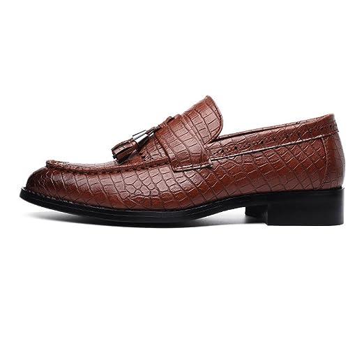 Ruiyue Zapatos de Cuero de PU, Textura de Piel de Serpiente Mocasines Superiores sin Cordones, Transpirables y Bajos Superiores Forrados Zapatos Oxford para ...