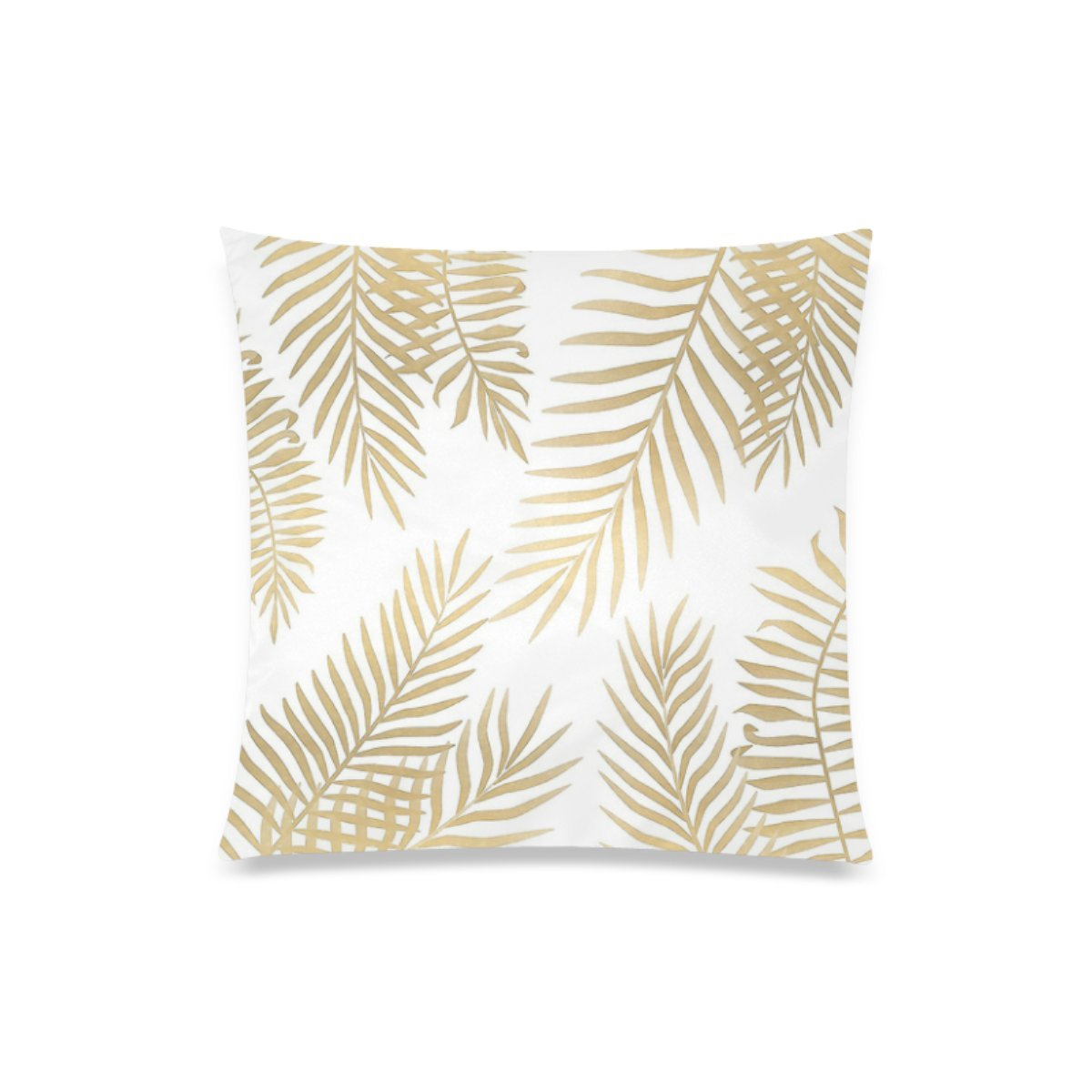 Gold Palm Leaves Personalized Custom Decorative Throw Pillow Cover 20''x20'' Cushion Case