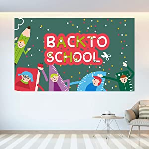 Ujuuu 6×3.6ft Back to School Backdrop for Kids Course Online Teaching Background Blackboard Photography Backdrop Classroom Chalkboard Banner for Photo Props Party Decor
