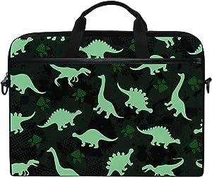 JSTEL Cute Kids Pattern Colorful Dinosaurs Abstract Laptop Shoulder Messenger Bag Case Sleeve for 14 inch to 15.6 inch with Adjustable Notebook Shoulder Strap