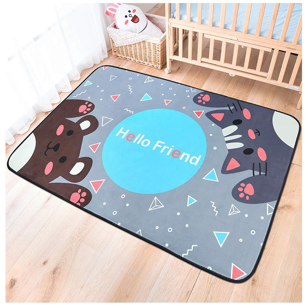 Children's Cartoon Folding Climbing Mat Large Living Room Bedroom Home Room Carpet Baby Crawling Anti-Slip Mat (Color : Meng Xiongjia Cat, Size : 100150cm)