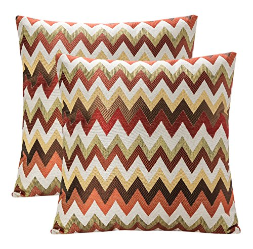 Pack of 2 SimpleDecor Jacquard Chevron Pattern Cushion Covers Decorative Pillowcases Multicolor 18X18 Inch Multicolor (Chevron Pillows Decorative)