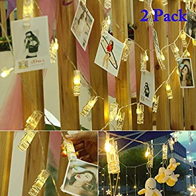 Vmanoo String Lights Battery Powered, 30 LED 12 Feet Photo Clips Lighting Ideal for Hanging Picture Cards and Memos, Home Bedroom Wedding, Xmas Party Decoration, Valentines Gift, 2PACK (Warm White)