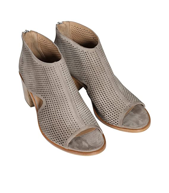 JANET & JANET Damen Stiefelette Bahamas mit Lochmuster Taupe Safari 41 bC2sP8