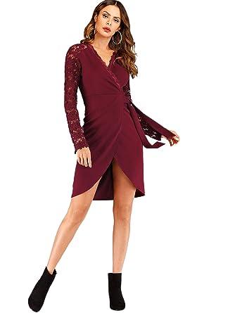 266298ecb38 DIDK Femme Robe Portefeuille Manches Longues en Dentelle Col en V  Contrastée Soirée élégant  Amazon.fr  Vêtements et accessoires