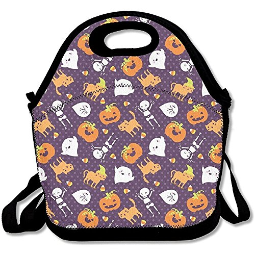 Starophi Silly Halloween Frightful Friends Lunch Tote Waterproof Reusable Lunch Box for Men Women Adults Kids Toddler Nurses with Adjustable Shoulder Strap - Best Travel Bag]()