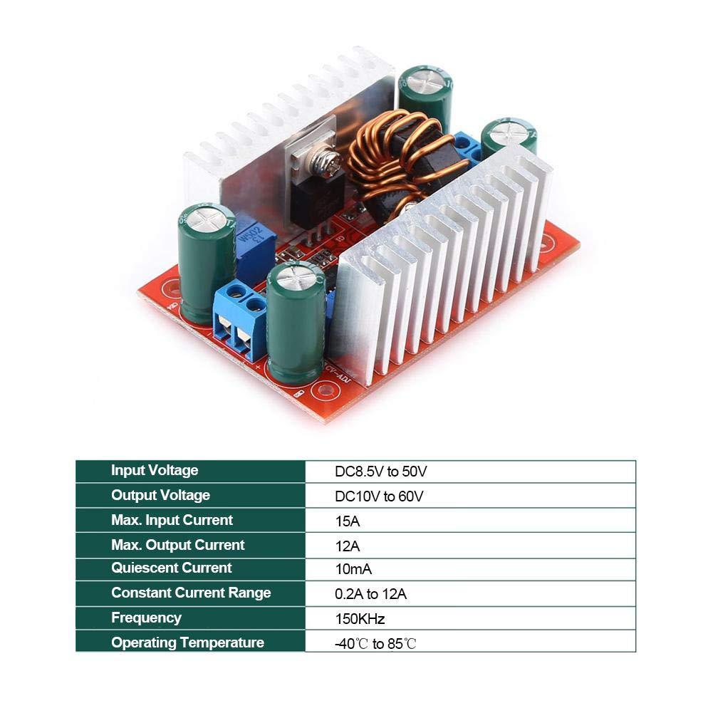 Régulateur de Tension 8.5V à 50V 10V à 60V 400W,Jectse DC-DC Boost Convertisseur Module D'alimentation Élévateur DC-DC Boost Module d'alimentation électrique Step-Up Converter