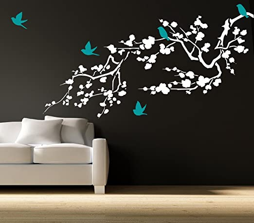 """72/"""" wide x 28/"""" tall Tree Branch with Flowers Wall Decal Deco Art Sticker Mural"""