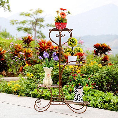 UNHO Pot Plant Stand Metal Flower Holder Garden Decor with 4 Tier Shelves for Indoor and Outdoor Bronze (4 Tier Metal Plant Stand)