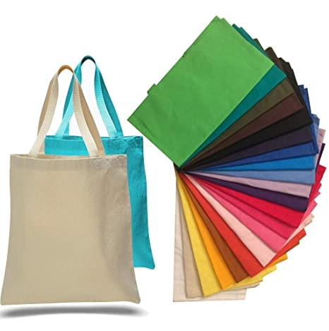 Amazon.com  1 Dozen - Heavy Cotton Canvas Tote Bag (Assorted Mix) by ... 43fa2dc060b0d