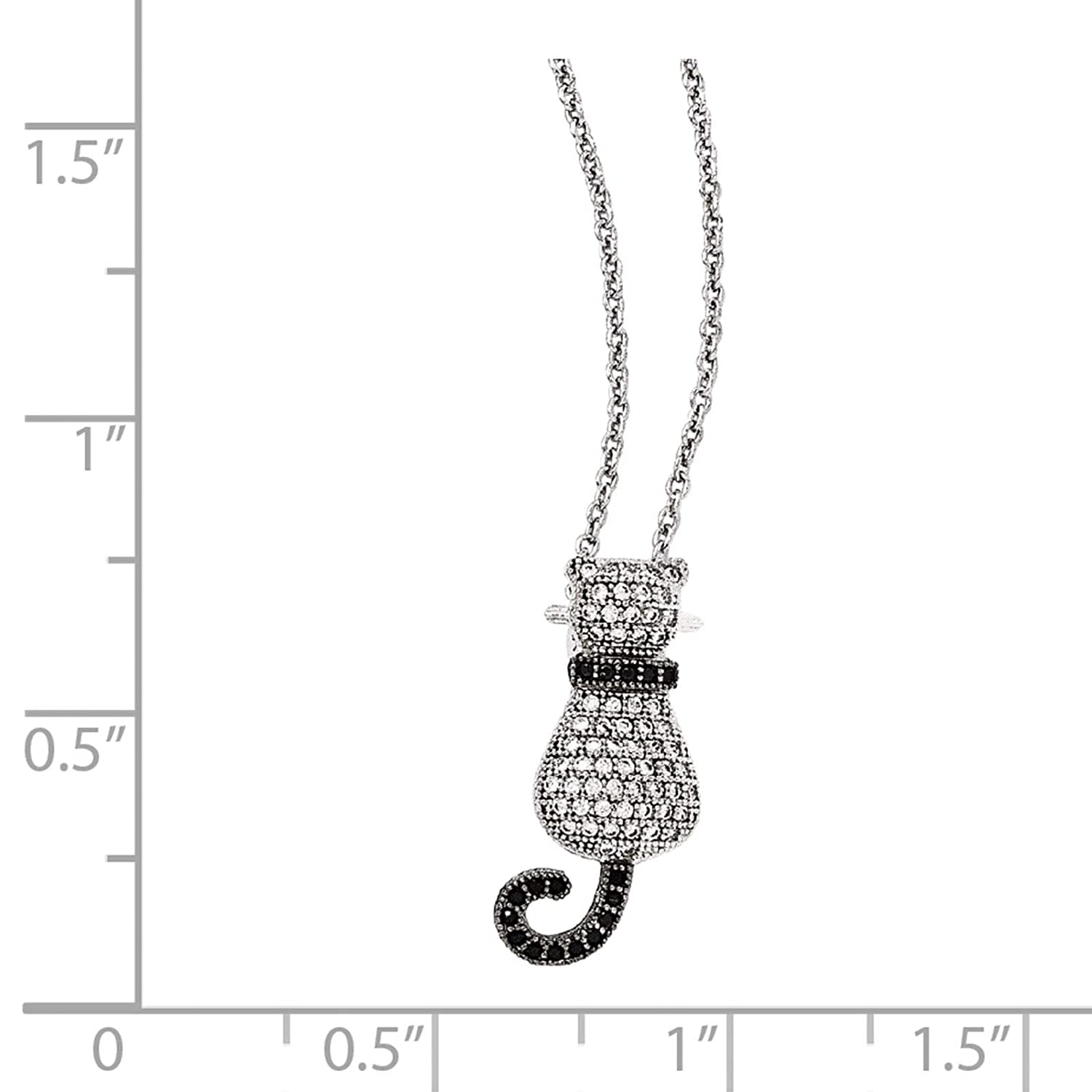 2 Extender Brilliant Embers Sterling Silver Rhodium-plated Black /& White CZ Cat Pendant Necklace 18