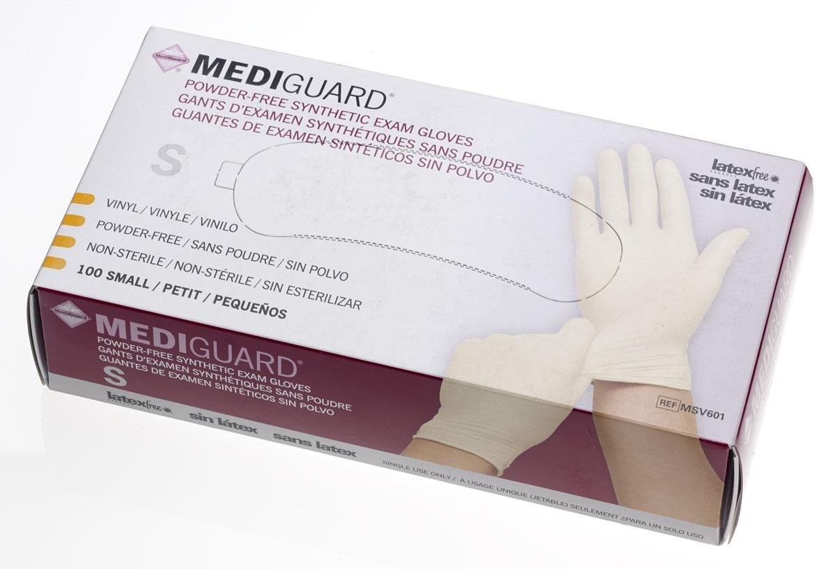 Medline 6MSV601 MediGuard Synthetic Exam Gloves, Vinyl, Latex Free, 9'' Length, Small, Clear (Pack of 1000)