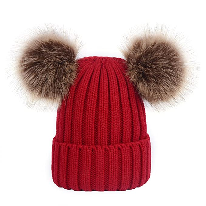 c6d01f1ed32 Image Unavailable. Image not available for. Color  TINKSKY Winter Knit  Beanie Bobble Hat Cap With Double Pom Pom Ears Christmas Gift ...