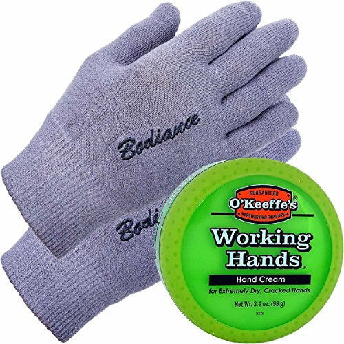 Hand Cream for Dry Cracked Hands and Hand Repair Gloves Bundle: O'Keeffe's Working Hands Cream (Unscented, Non-Greasy 3.2 oz.), Gel Moisturizing Gloves Men or Women (1 pair, Gray, Unscented)