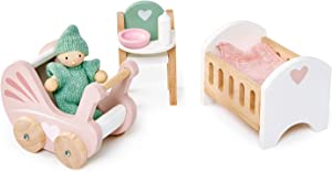 Tender Leaf Toys - Dovetail Dollhouse Accessories - Detailed Ultra Stylish Wooden Furniture Sets and Room Decor - Encourage Creative and Imaginative Fun Play for Children 3+ (Dovetail Nursery Set)