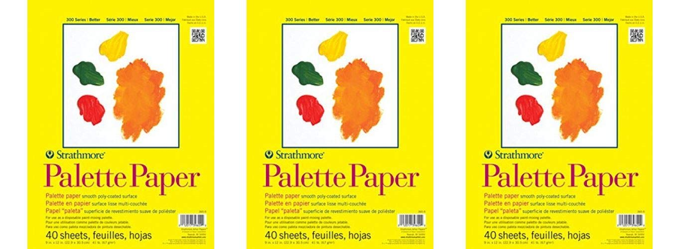 Strathmore 365-9 300 Series Palette Pad, 9''x12'' Tape Bound, 40 Sheets (Тhrее Pаck, White)