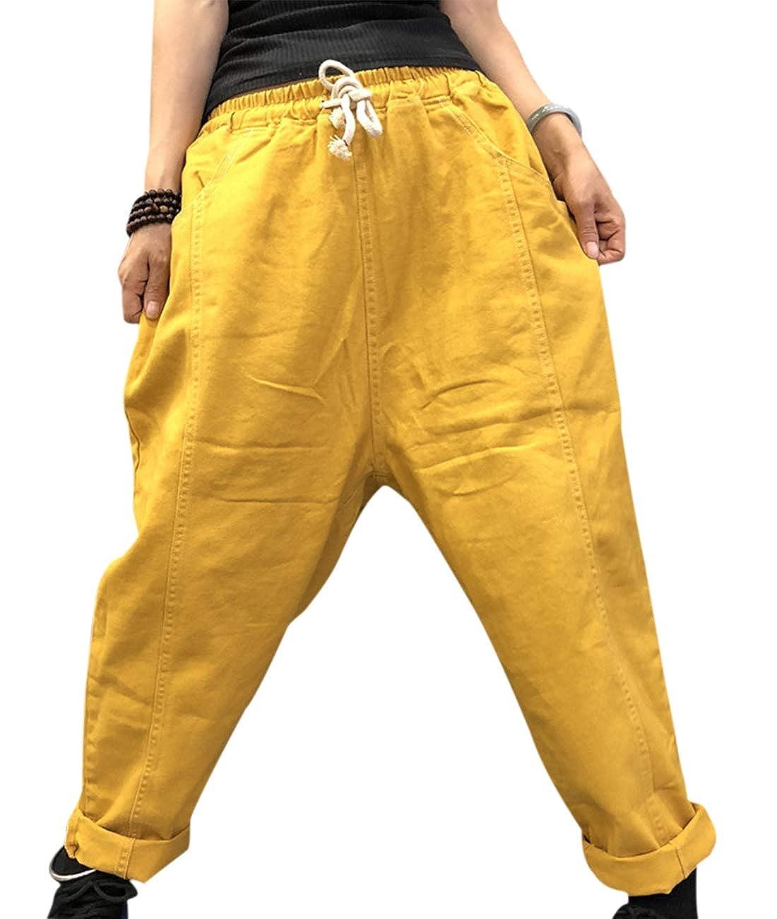 YESNO PGC Women Casual Loose Active Pants Yoga Jogger Long Lounge Pants//Pocket