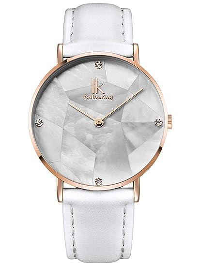 Alienwork Reloj Mujer Relojes Piel de Vaca Blanco Analógicos Cuarzo Oro Rosa Impermeable nácar Ultra-Delgada Slim Elegante: Amazon.es: Relojes
