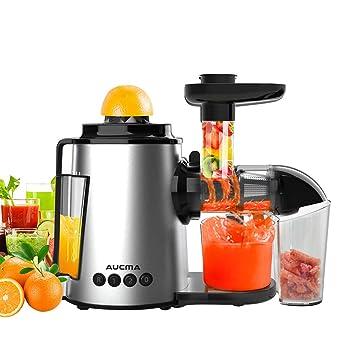 AUCMA Entsafter Slow Juicer, BPA Frei Ruhiger Motor und Umkehrfunktion, Kältepresse Entsafter Leicht mit Pinsel zu reinigen,Entsafter Weizengras und