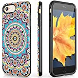 VeaYook for iPhone 8 iPhone 7 Case Womens with Ring Holder Kickstand Shockproof full Protection heavy duty High Impact Durable Slim Dual Layer 360 Protective Absorbing Case (Mandala Floral Design)