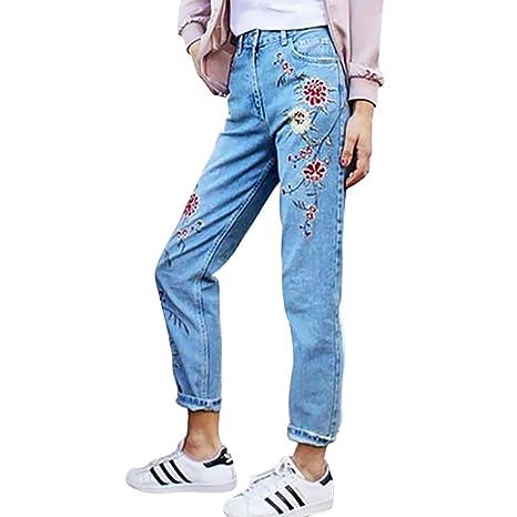Womens jeans Mena UK Mujeres de Alta Cintura Fit Flor de ...