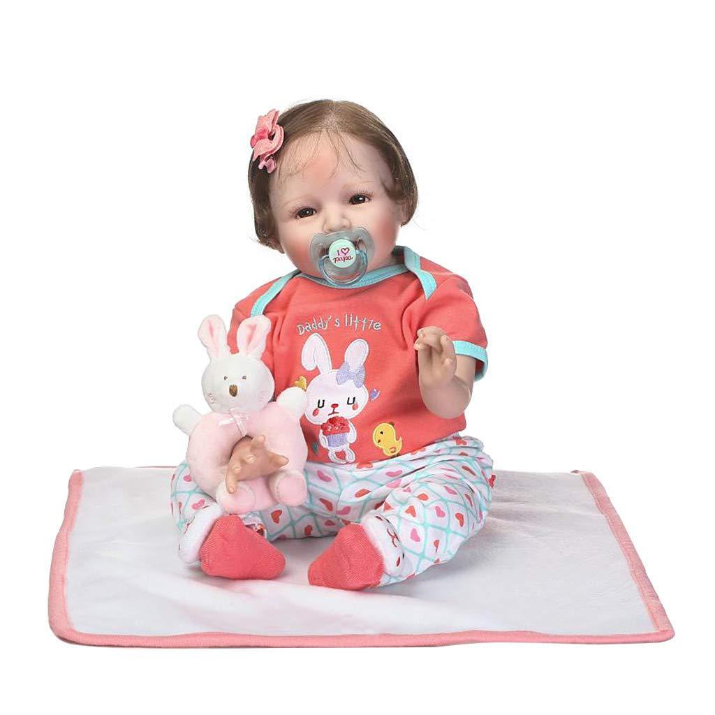 Suweqi 22 Pouces Reborn Baby Doll-Bébé Réaliste Nouveau-Né Vinyle Membres Du Corps De Tissu Et Une Petite Couverture-Cadeaux De Noël Jouets Pour Enfants