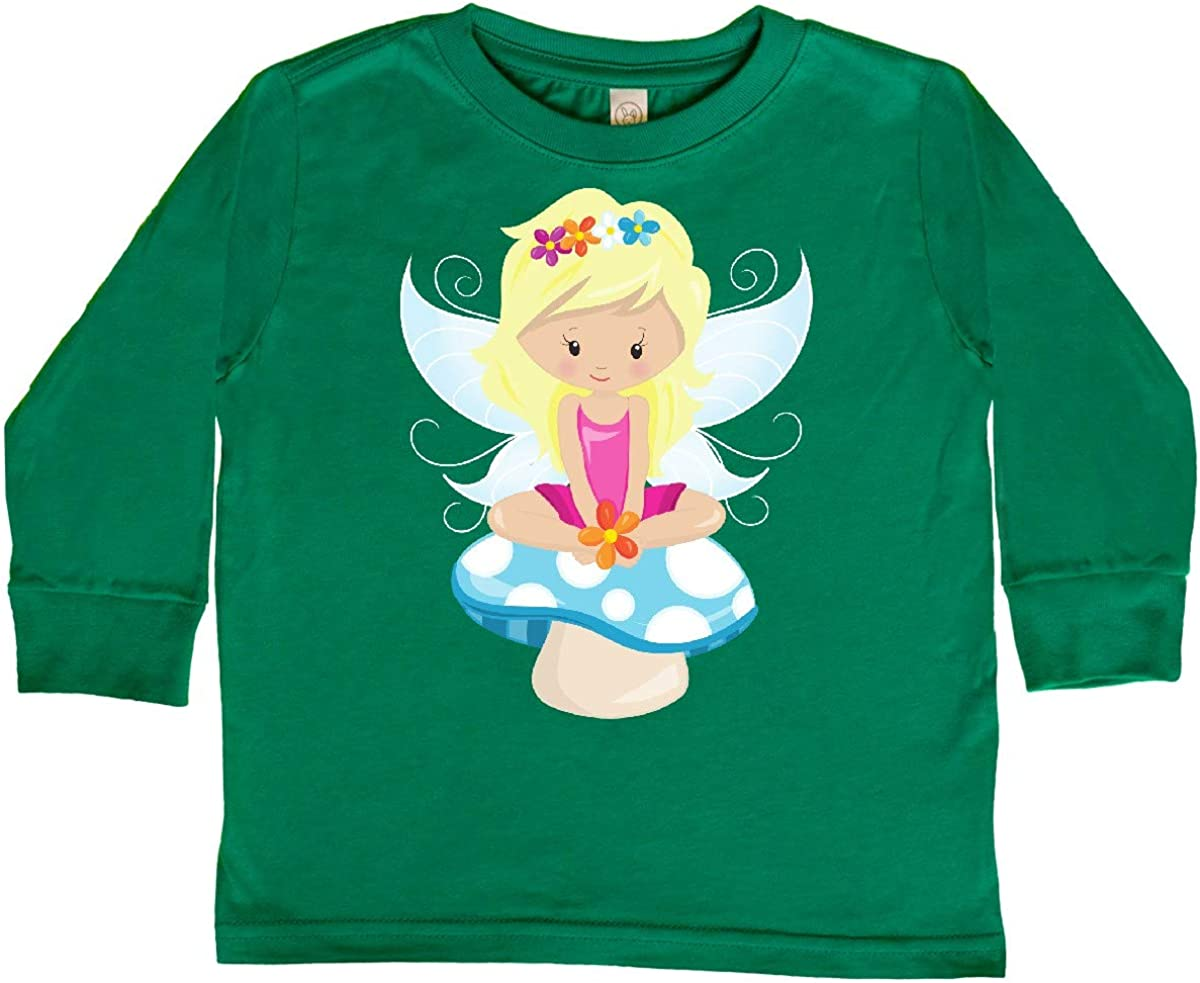 Fairy Sitting on Toddler Long Sleeve T-Shirt Blonde Hair inktastic Cute Fairy