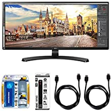"""LG 21:9 FHD IPS 34"""" Monitor (34UM68) with Xtreme Performance TV/LCD Screen Cleaning Kit, Xtreme 6 Outlet Power Strip & 2x General Brand HDMI to HDMI Cable 6'"""